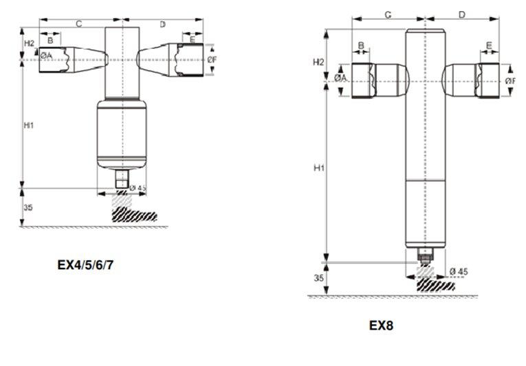 Габаритный чертеж EX4-8