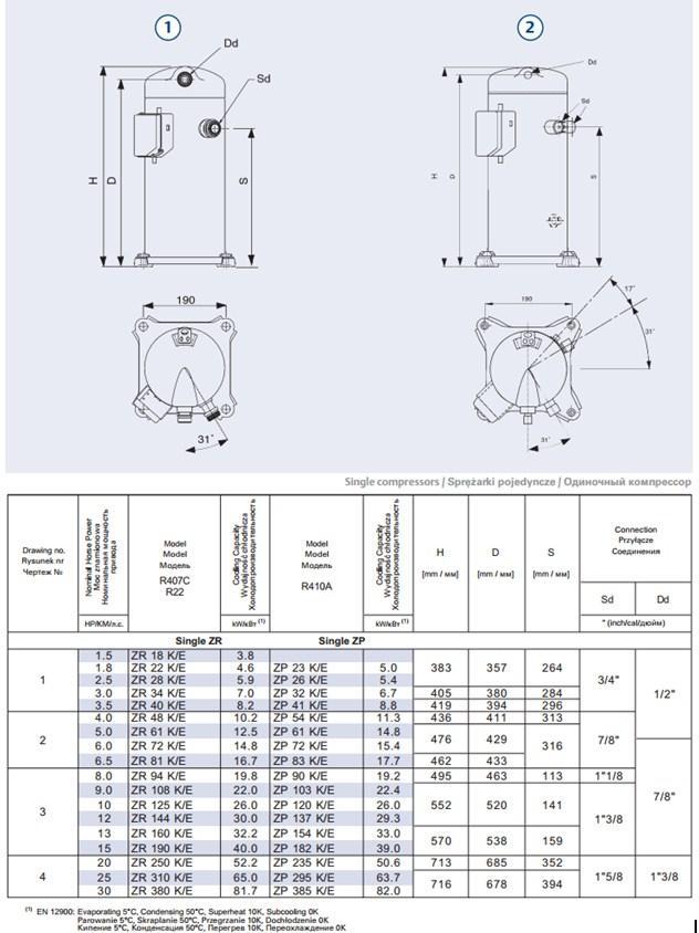 Габаритный мертеж компрессоров Copeland серий ZR 18-40 и ZP 23-83