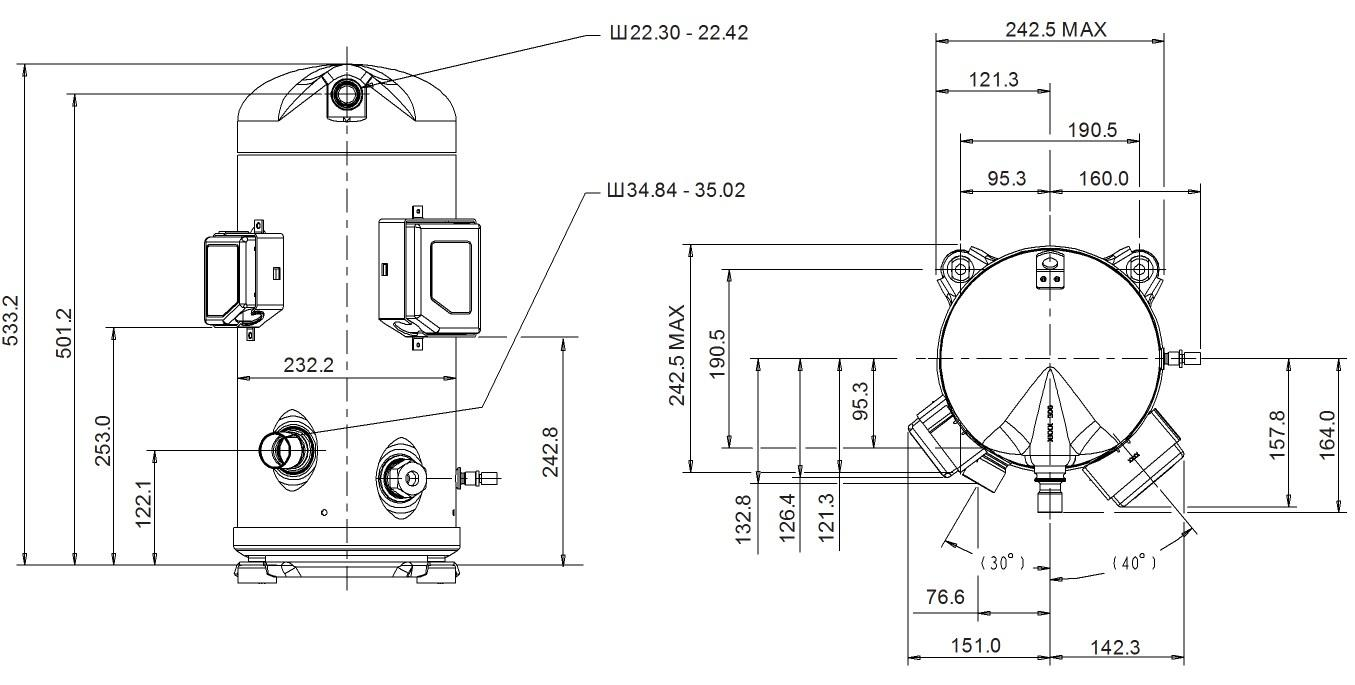 Габаритный чертеж компрессра Copeland ZPD103 KCE TFD -425