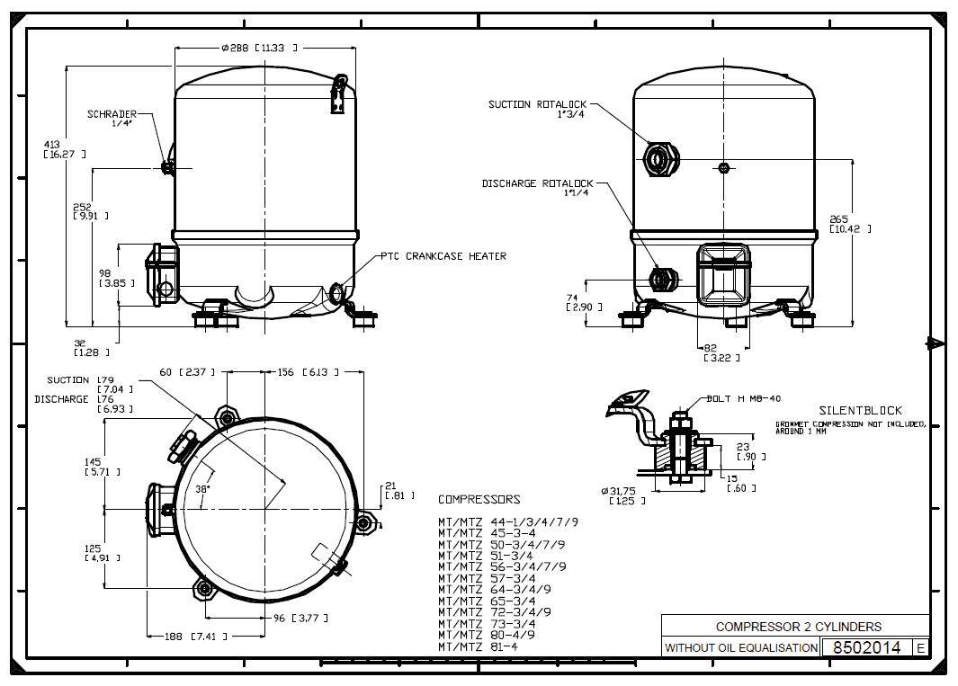 Габаритный чертеж Maneurop MT080-4VI