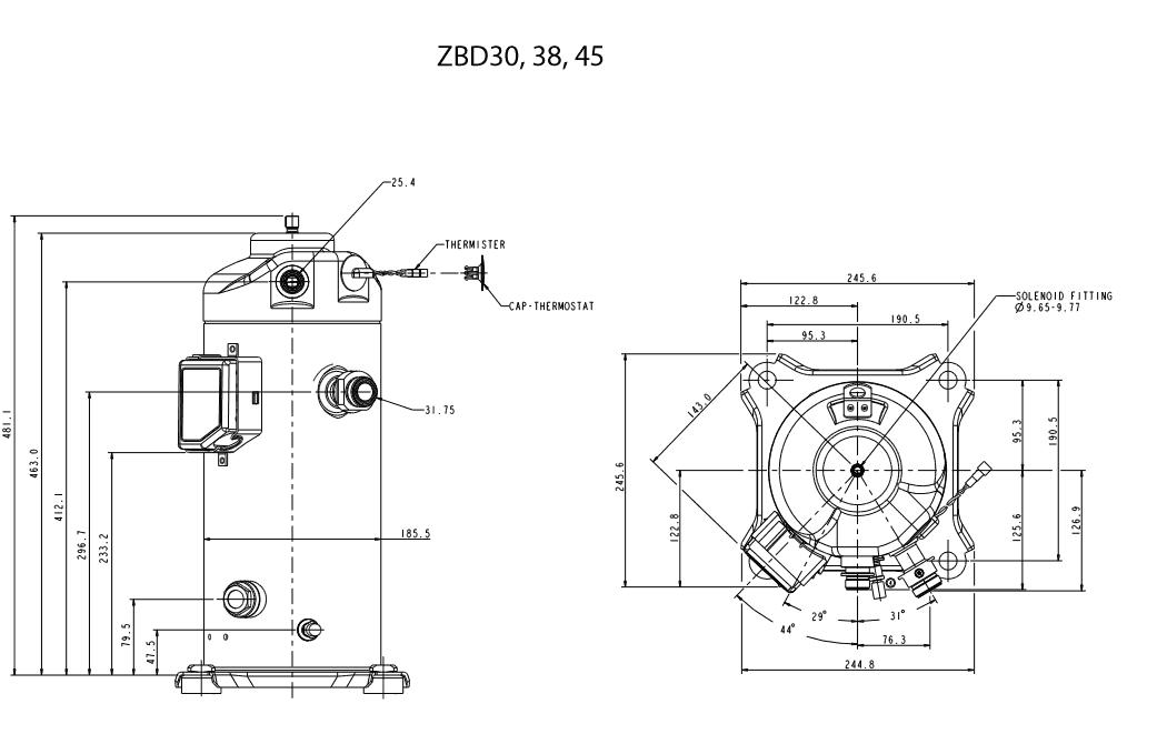 Габаритный чертеж спирального компрессора Copeland