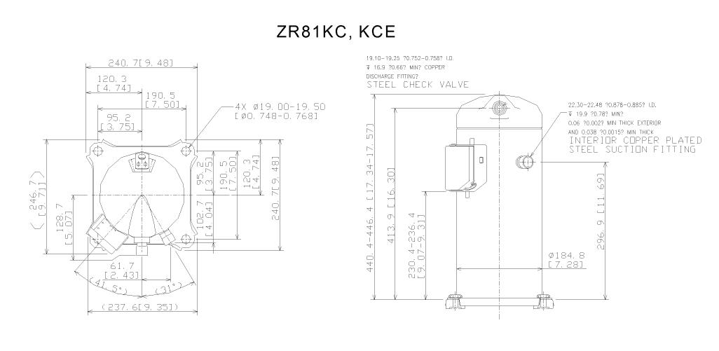 Габаритный чертеж компрессора ZR 81