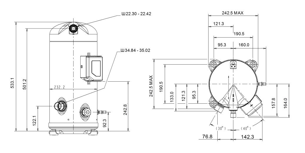Габаритный чертеж компрессора Copeland ZP-103