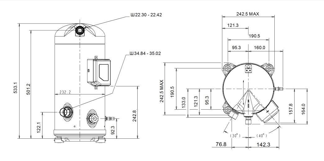 Габаритный чертеж компрессора Copeland ZP-120