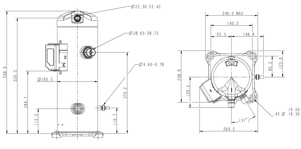 Габаритный чертеж компрессора Copeland ZP-122
