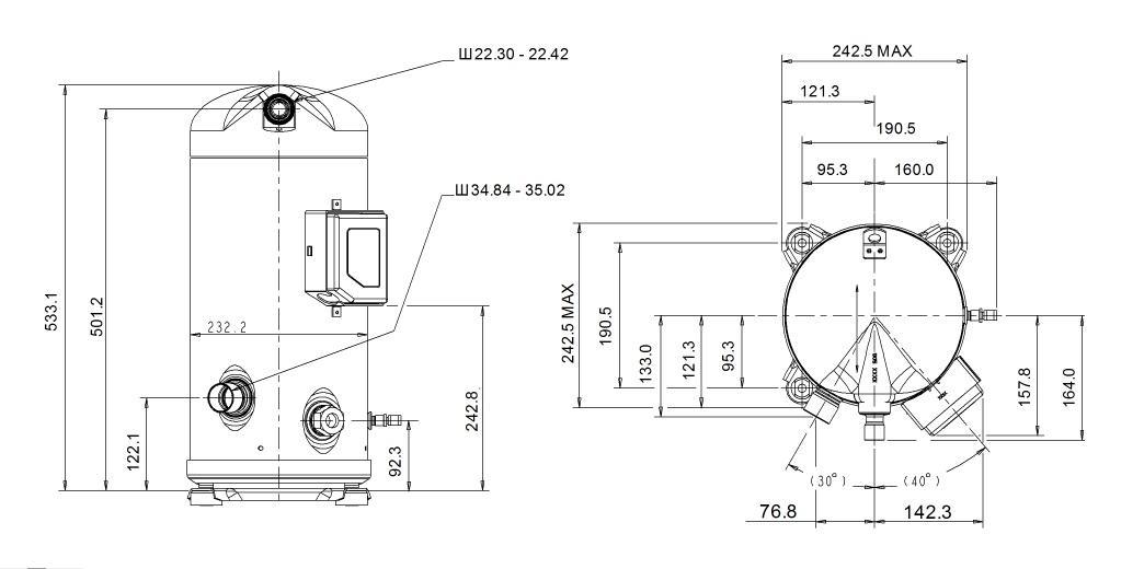 Габаритный чертеж компрессора Copeland ZP-137