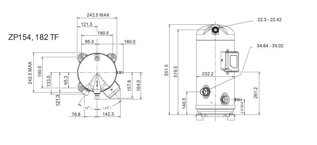 Габаритный чертеж компрессора Copeland ZP-154