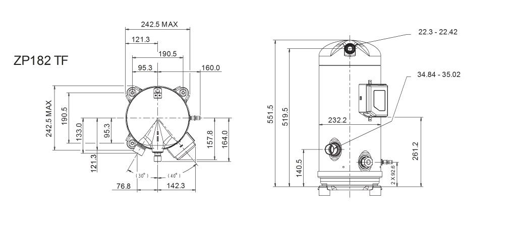 Габаритный чертеж компрессора Copeland ZP-182