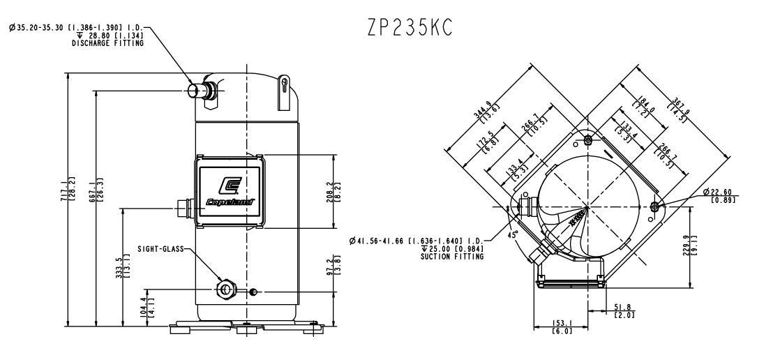 Габаритный чертеж компрессора Copeland ZP-235