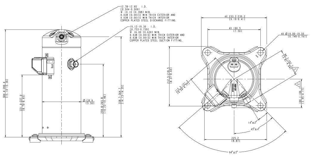 Габаритный чертеж компрессора Copeland ZP-24