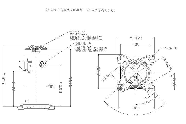 Габаритный чертеж компрессора Copeland ZP-31