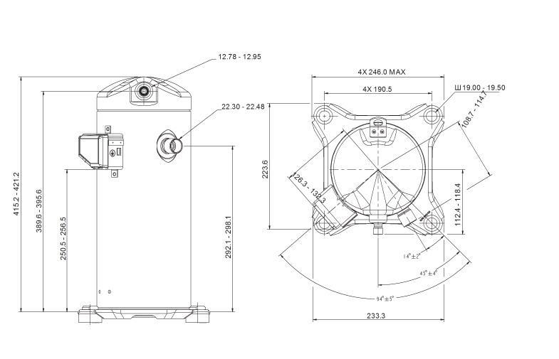 Габаритный чертеж компрессора Copeland ZP-42
