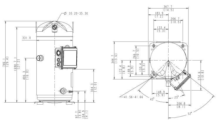 Габаритный чертеж компрессора Copeland ZP-485