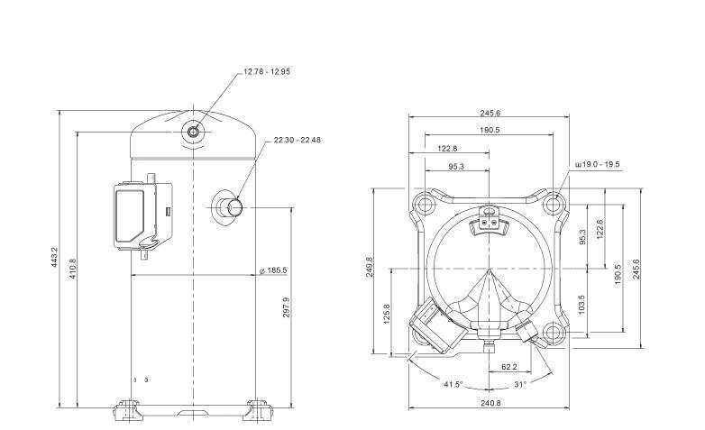 Габаритный чертеж компрессора Copeland ZP-61