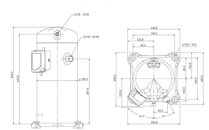 Габаритный чертеж компрессора Copeland ZP-72