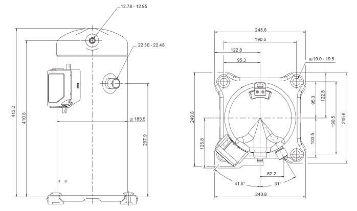 Габаритный чертеж компрессора Copeland ZP-83