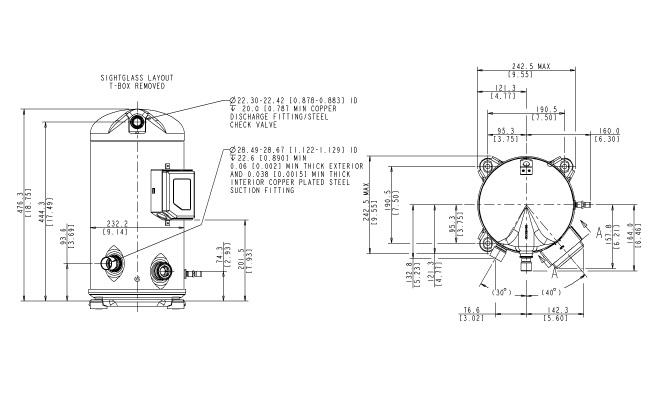Габаритный чертеж компрессора Copeland ZP-90