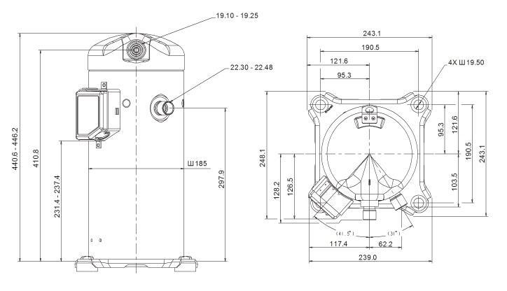 Габаритный чертеж компрессора Copeland ZP-91