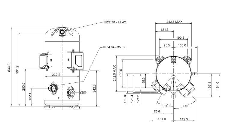 Габаритный чертеж компрессора Copeland ZPD-120