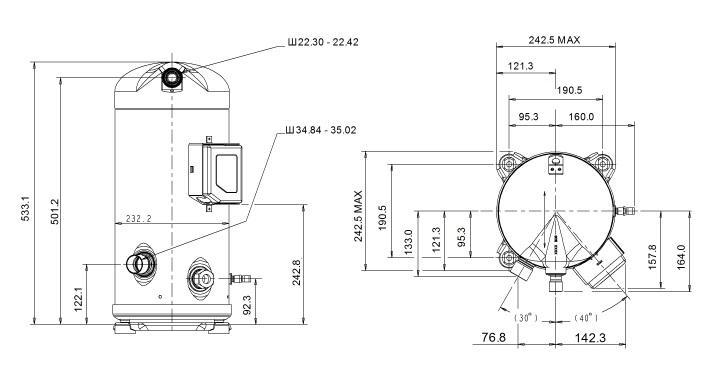 Габаритный чертеж спирального компрессора Copeland ZR-144