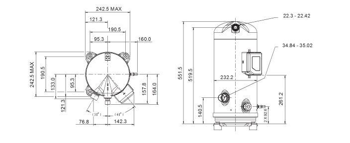 Габаритный чертеж спирального компрессора Copeland ZR-160