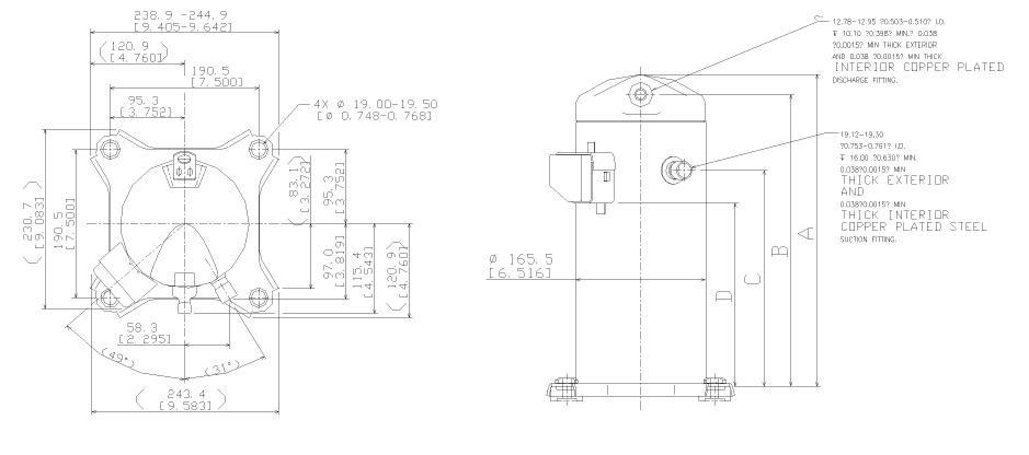 Габаритный чертеж спирального компрессора Copeland ZR-22