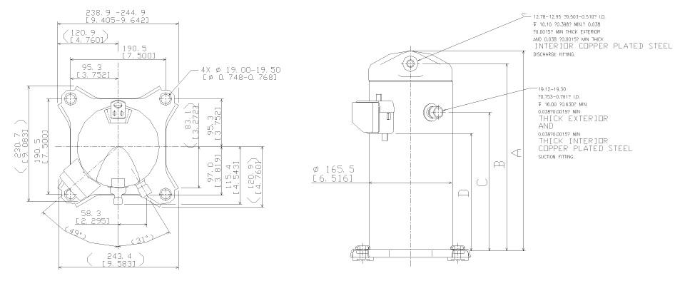 Габаритный чертеж спирального компрессора Copeland ZR-28