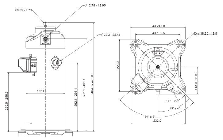 Габаритный чертеж компрессора Copeland ZPD-42