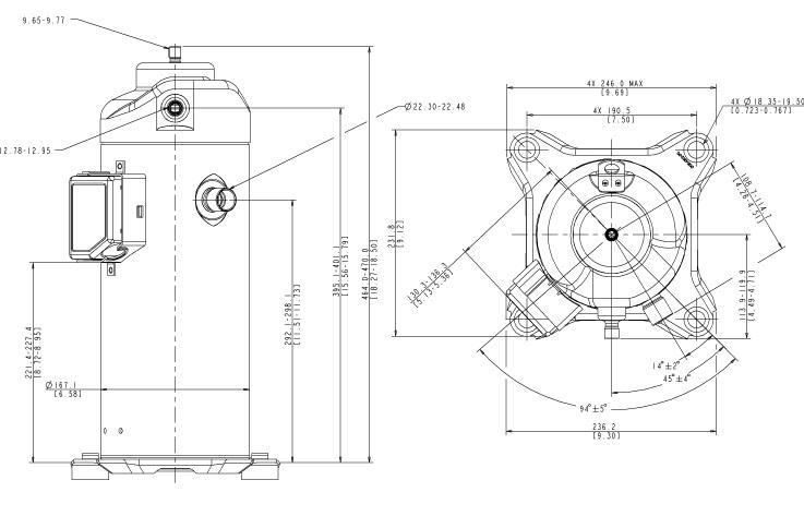 Габаритный чертеж компрессора Copeland ZPD-54