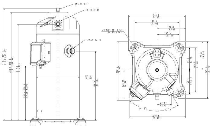 Габаритный чертеж компрессора Copeland ZPD-72