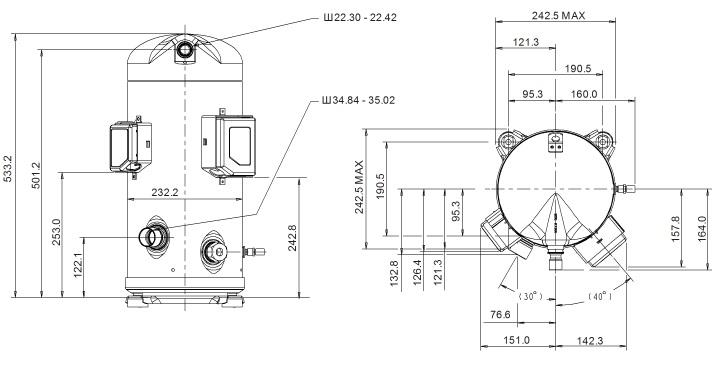 Габаритный чертеж компрессора Copeland ZPD-91