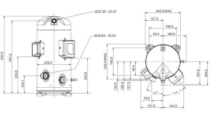 Габаритный чертеж компрессора Copeland ZPD-137
