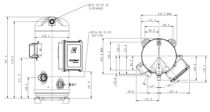 Габаритный чертеж компрессора Copeland ZPD-154