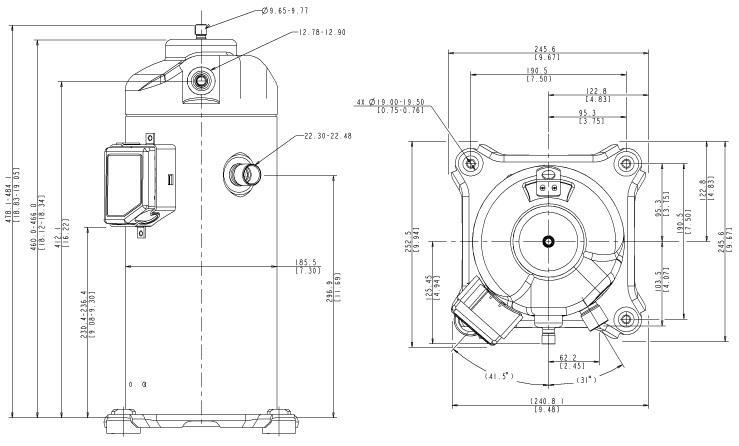 Габаритный чертеж компрессора Copeland ZPD-83