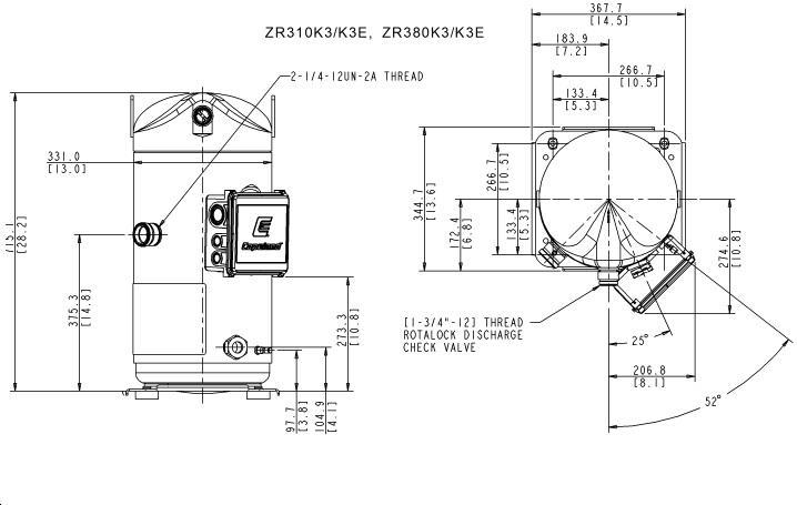 Габаритный чертеж компрессора Copeland ZR-310
