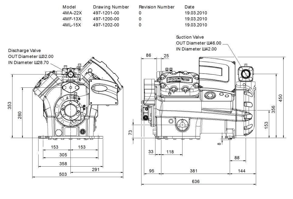 Габаритный чертеж компрессора  Copeland 4MA-22X STREAM