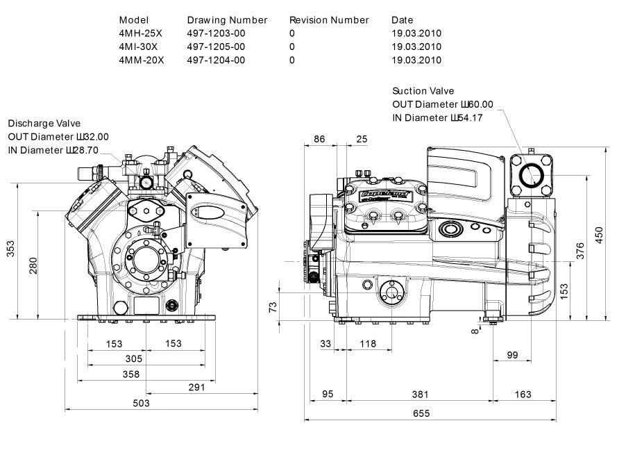 Габаритный чертеж компрессора Copeland 4MH-25X STREAM