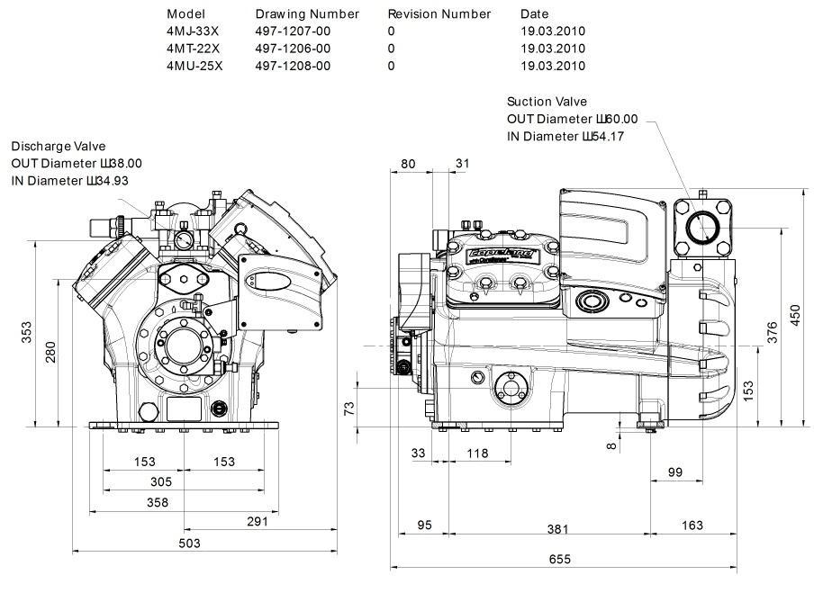 Габаритный чертеж компрессора Copeland 4MT-22X STREAM