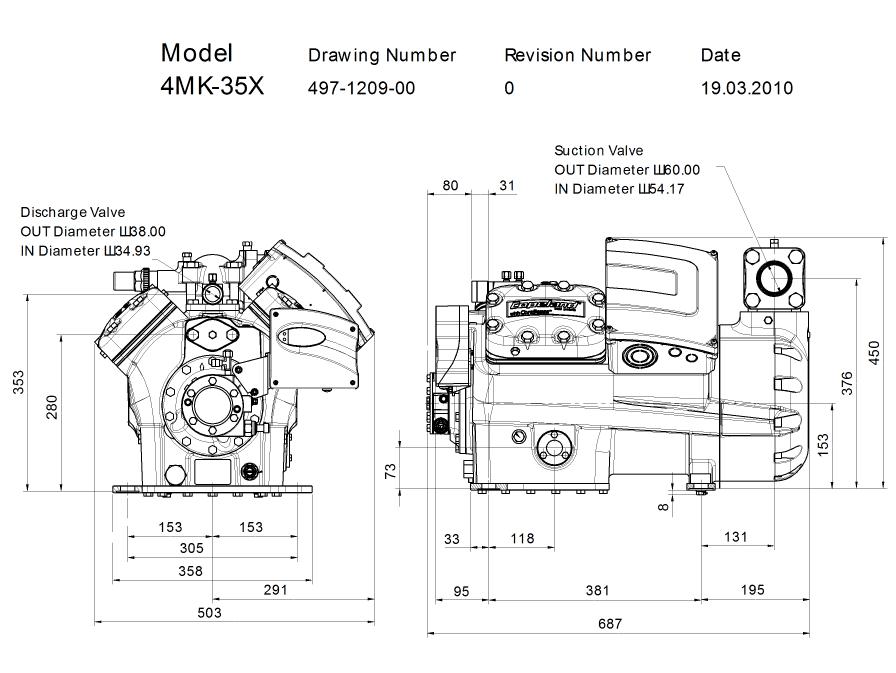 Габаритный чертеж компрессора Copeland 4MK-35X STREAM