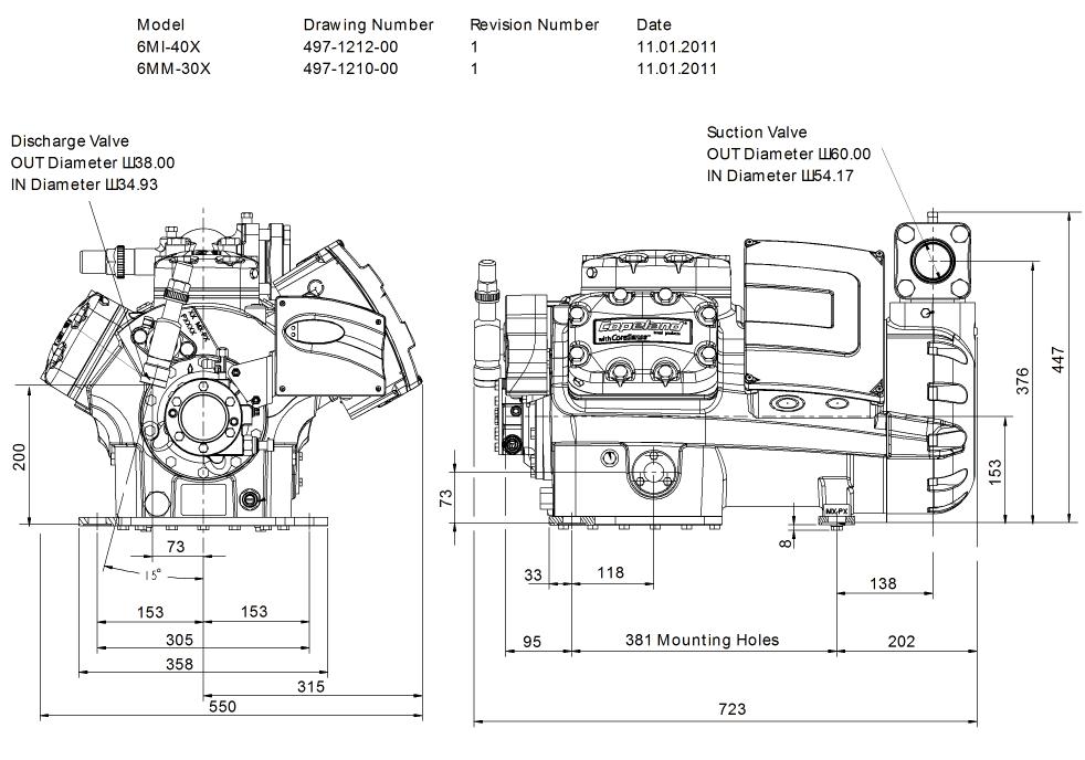 Габаритный чертеж компрессора Copeland 6MM-30X STREAM