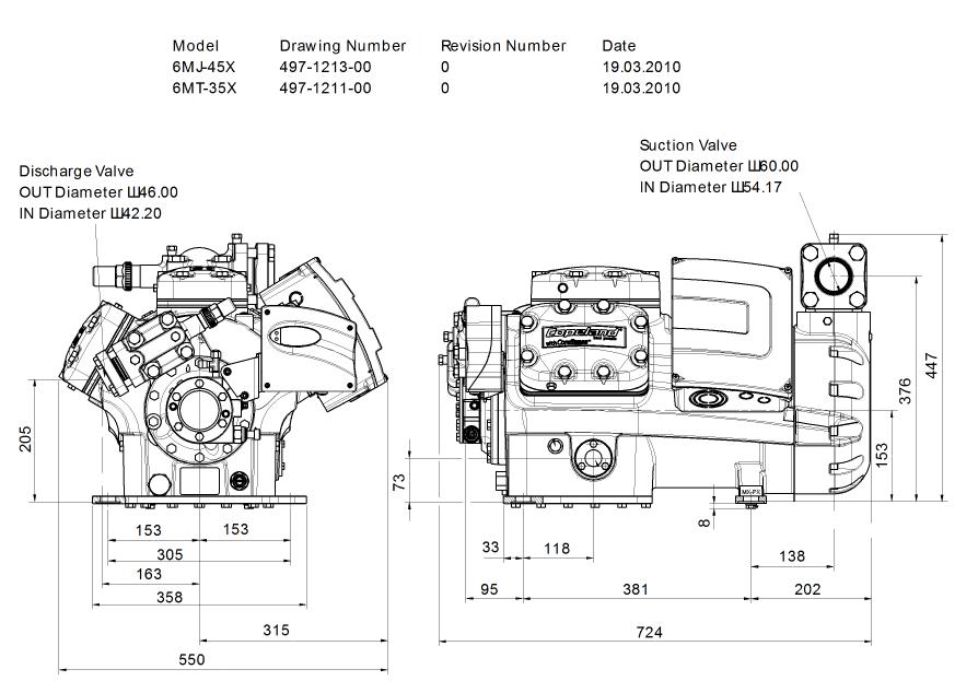 Габаритный чертеж компрессора Copeland 6MJ-45X STREAM