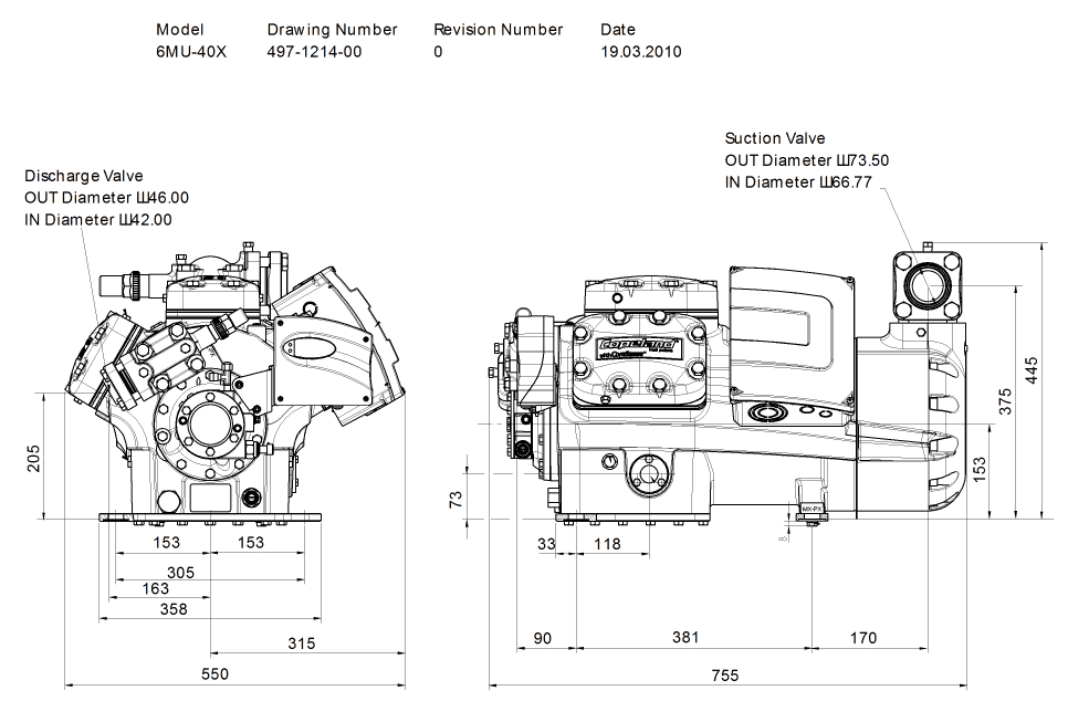 Габаритный чертеж компрессора Copeland 6MU-40X STREAM