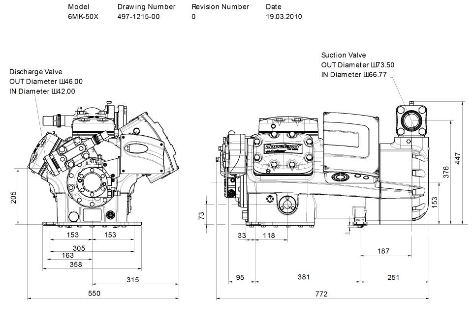 Габаритный чертеж компрессора Copeland 6MK-50X STREAM