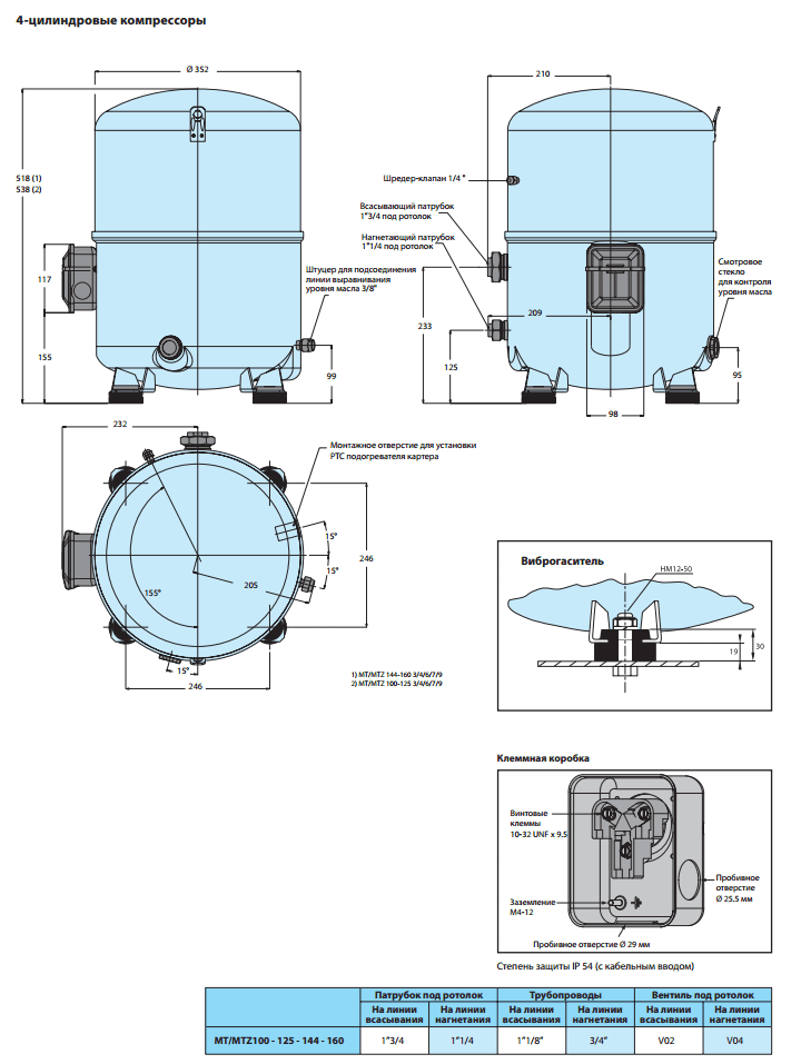 Габаритный чертеж ManeuropMTZ100-4VM