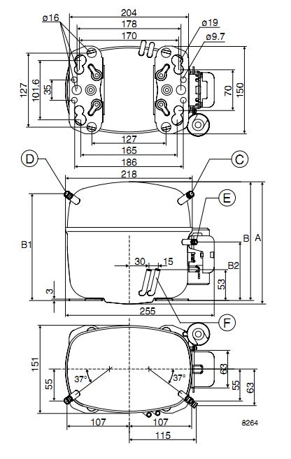 Габаритный чертёж спирального компрессора SC12G
