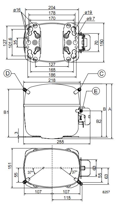 Габаритный чертёж спирального компрессора SC18CL