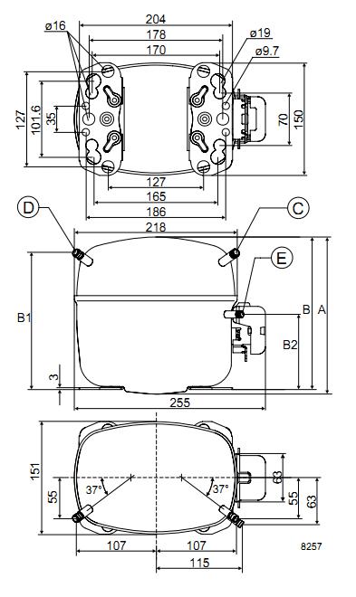 Габаритный чертёж спирального компрессора SC21CL