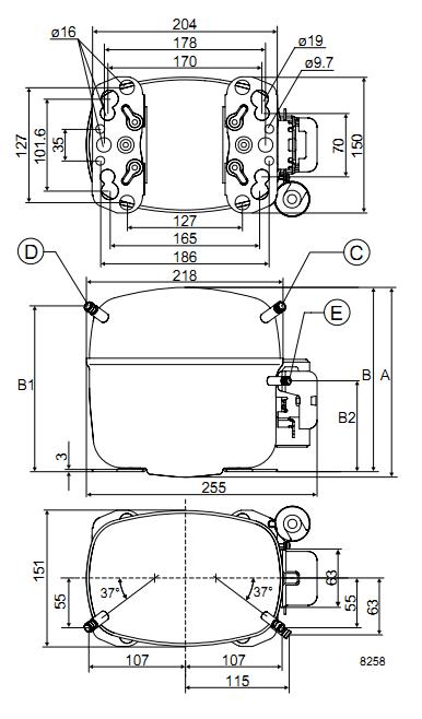 Габаритный чертёж спирального компрессора SC12C