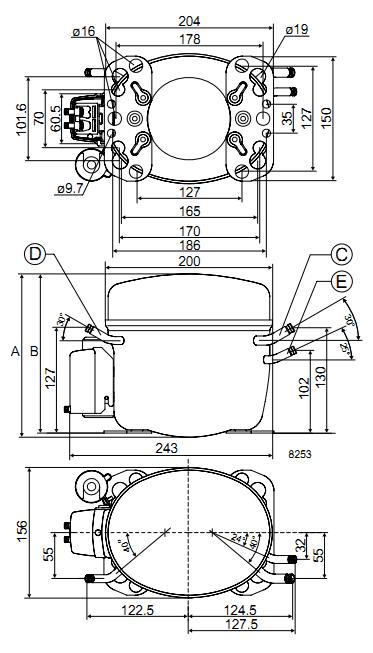Габаритный чертёж спирального компрессора FR6CL