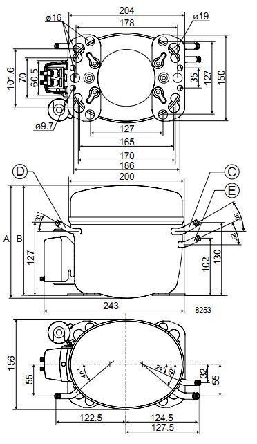 Габаритный чертёж спирального компрессора FR8.5CL